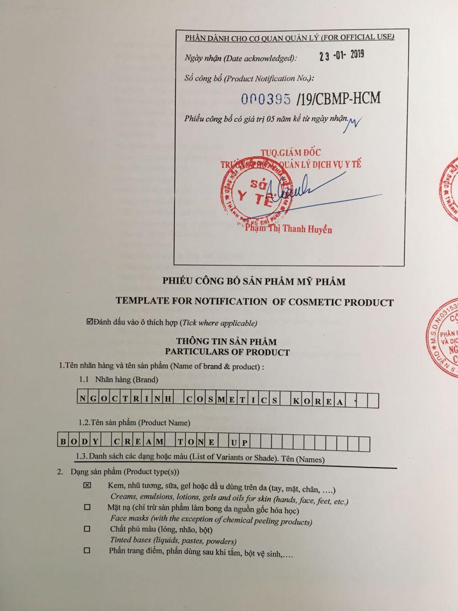 giấy chứng nhận từ bộ y tế